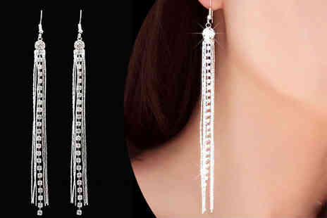 Alvis Fashion - Pair of crystalized silver plated tassel earrings - Save 89%