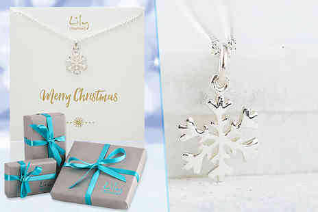 Lily Charmed - Sterling silver snowflake necklace with a Merry Christmas message - Save 46%