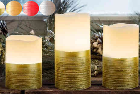 Fusion - Pack of Three Vanilla Scented LED Candles Four Colours - Save 67%