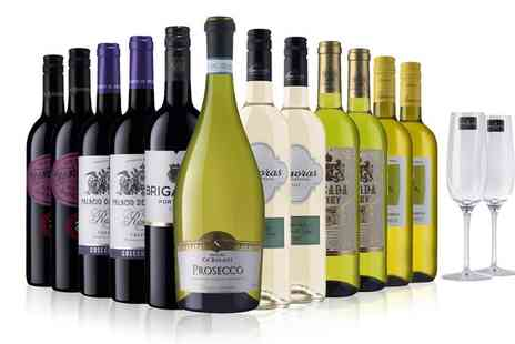 Laithwaites - 12 Bottles of Red, White or Mixed Wine with Prosecco Plus Two Glasses Include Laithwaites Wine Plan - Save 0%