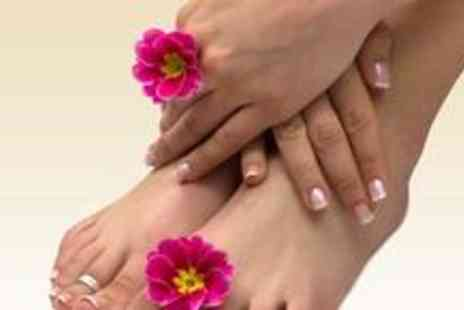 Emiras Nail and Beauty Parlour - Deluxe pedicure, Shellac manicure, full body exfoliation and a back, neck and shoulder massage - Save 79%
