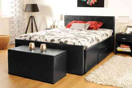 Groupon Goods Global GmbH - Three Drawer Bed, Two Bedside Tables and Ottoman Storage Box With Free Delivery - Save 0%