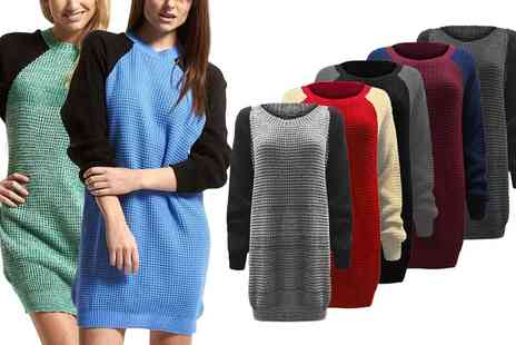 Groupon Goods Global GmbH - Contrast Sleeve Chunky Knit Dress - Save 0%
