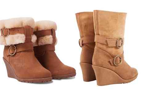 Groupon Goods Global GmbH - Shoe Primo Womens Suede Fur Lined Wedge Zippy Boots With Free Delivery - Save 0%