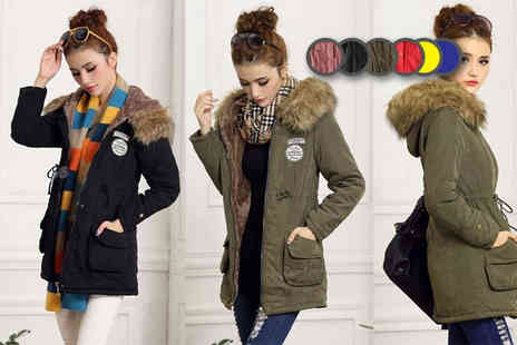 EF Mall - Womens fleece lined parka coat choose from six colours - Save 69%
