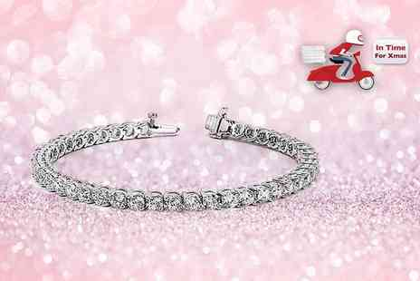 Unlimited Joy - White gold plated tennis bracelet made with crystals - Save 89%