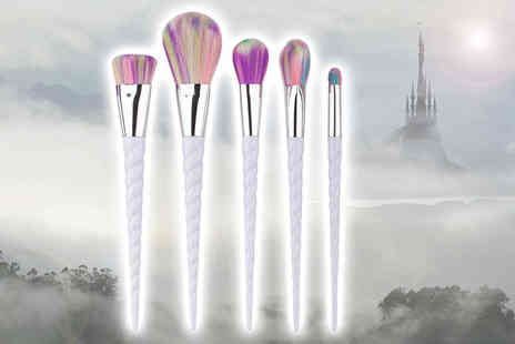 Glam Bazaar - Set of five luxury unicorn makeup brushes - Save 80%