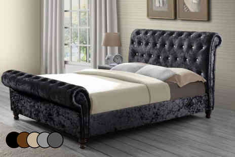 SleepKings - Double crushed velvet chesterfield bed frame - Save 69%