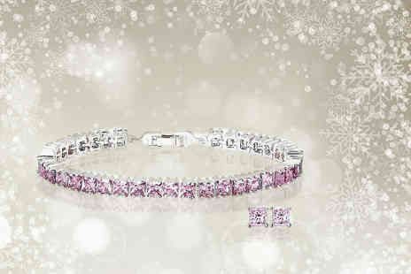 Fakurma - Pink princess cut tennis bracelet and matching earrings - Save 91%
