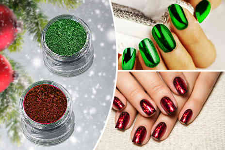 Boni Caro - Christmas magic mirror nail powder in red or green or both - save up to 80% - Save 80%