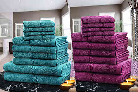 Fusion Homeware - 10 piece towel bundle choose from nine colours - Save 84%