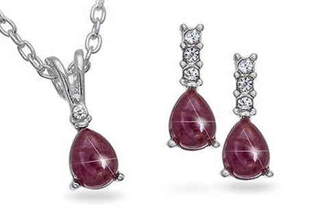 UK Sparkle - Genuine Ruby and Rhinestone Silvertone Pendant and Earrings Set - Save 53%