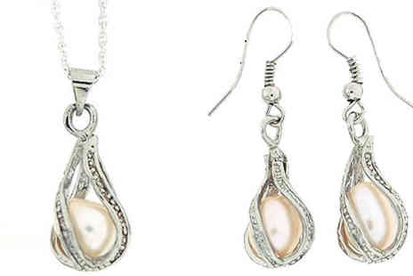 UK Sparkle - Silver Toned Pearl Pendant and Earring Gift Set - Save 40%