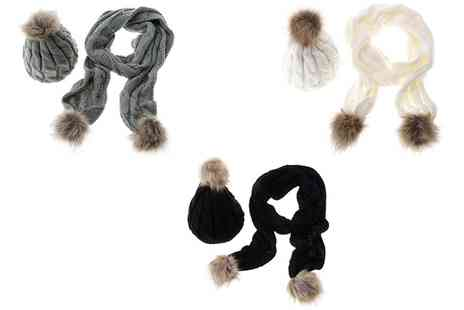Groupon Goods Global GmbH - Pom Pom Scarf and Winter Hat in Choice of Colour - Save 80%