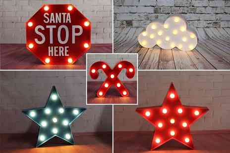 Ricomex - An LED light sign choose star, cloud, candy cane or Stop Santa - Save 45%