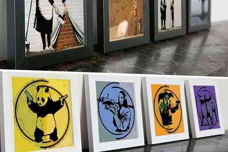 Who Art Now - Four piece 15cm x 15cm or 18cm x 18cm Banksy print set - Save 83%