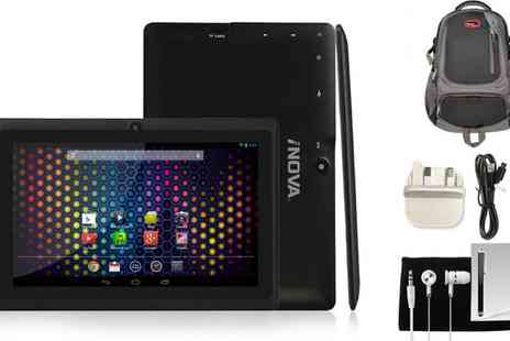 Groupon Goods Global GmbH - iNova 7 Inch EX756 8GB Quad Core Android 4.4 Tablet Bundle with Backpack With Free Delivery - Save 0%