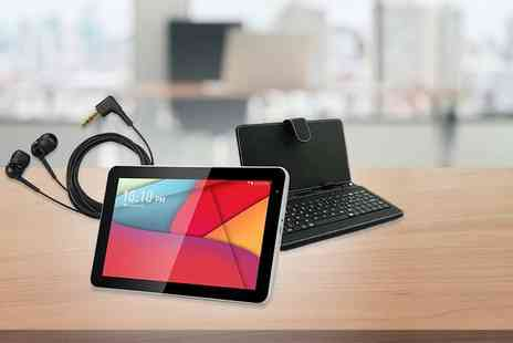 "D2D - 10.1"" Android 4.4 smart tablet bundle including a keyboard case and earphones - Save 71%"