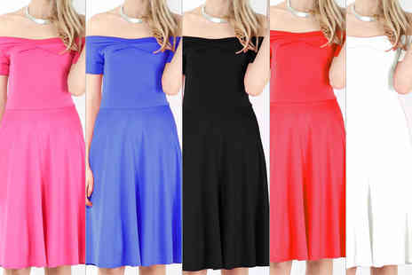 Bejealous - Penny Bardot off the shoulder midi length skater dress choose from nine colours - Save 62%