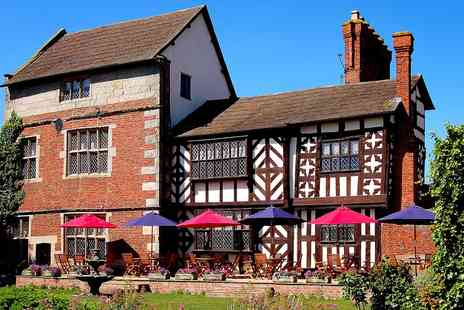 Albright Hussey Manor and Moat House Restaurant - Shropshire 2 AA Rosette Tasting Menu & Bubbly for 2 - Save 56%