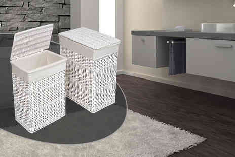 Funky Buys - Medium white wicker laundry basket - Save 62%