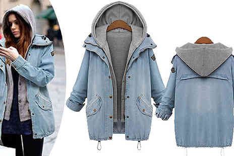 Graboom - Two Piece Denim Jacket With Detachable Hoodie Six Sizes - Save 0%