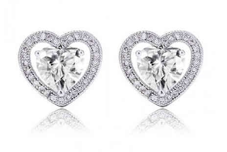 Trendy Banana - Silver Plated Swarovski Elements Halo Heart Earrings - Save 70%