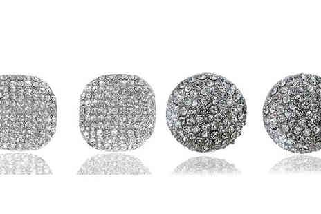 Voodoo Black - 18K White Gold Plated Swarovski Elements Stud Earrings in 2 Designs - Save 72%