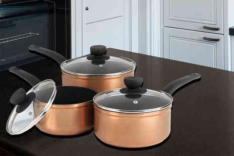 Up Global Sourcing - Three piece Salter copper effect pan set - Save 56%