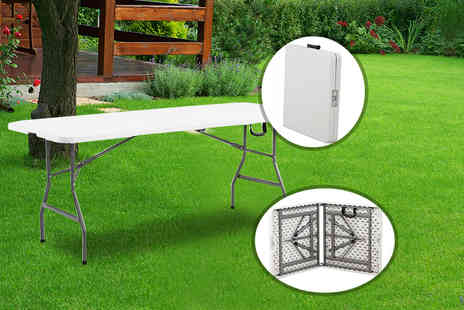 Product Mania - 4 foot heavy duty folding table choose from red and white - Save 73%