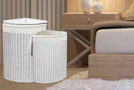 Funky Buys - Large white wicker laundry basket - Save 67%