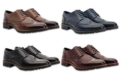 Shoeprimo - Pair of mens leather brogues choose from four colours - Save 82%
