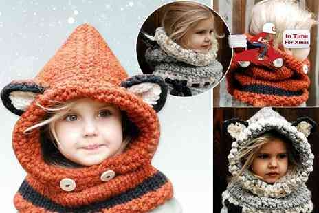 EF Mall - Kids hooded scarf choose from orange and grey - Save 77%