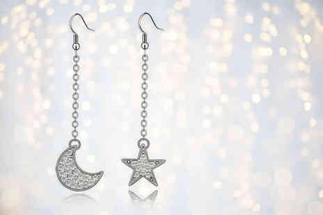 Evoked Design - Pair of star and moon crystal drop earrings - Save 75%