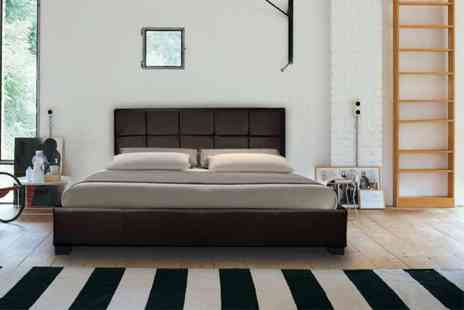 Giomani Designs - Faux leather double ottoman storage bed with a limited number available - Save 90%