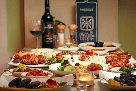 Anjelique Cafe - 8 or 16 Plate Mezze Platter with Glass of Wine or Beer for Two or Four - Save 65%