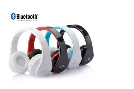 E&F Trading - Foldable wireless Blueooth headset choose from black, white, red and blue - Save 0%