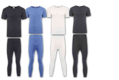 Stitch Trading - Mens short or long sleeved thermal set choose from four colours - Save 82%