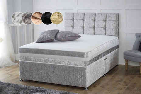 FurnitureStopUK - Crushed velvet divan bed with a mattress and drawer options choose from five colours - Save 65%