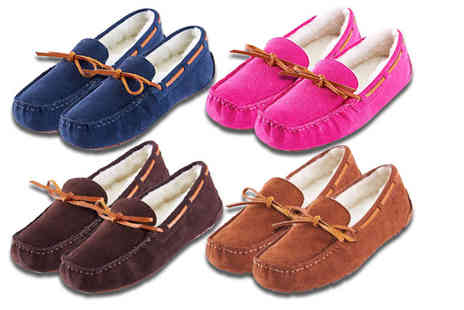 Evaniy Accessories - Pair of ladies suede moccasin slippers choose from four colours - Save 52%