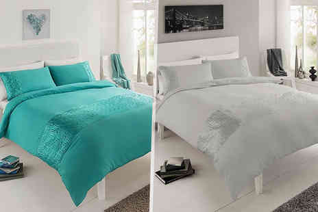 Groundlevel - Single, double or king size faux silk duvet set choose from seven colours - Save 68%