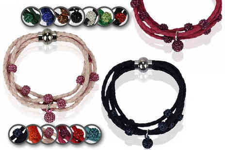 Pearl Info - Crystal engraved bead bracelet choose from 13 colour options - Save 77%