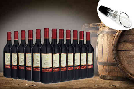 Easy Gifts - 12 bottles of Tierra de Extremadura red wine with decanter - Save 62%