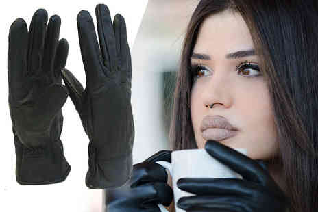 Pearl Info - Pair of unisex black thermal leather gloves - Save 77%