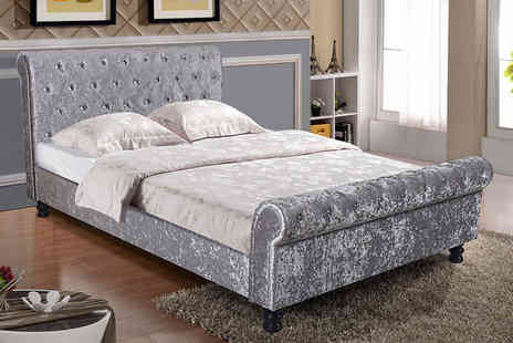 FTA Furnishing - Double luxurious padded crushed velvet sleigh bed - Save 78%