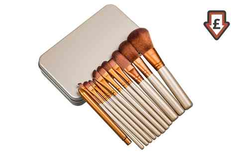 Groupon Goods Global GmbH - 12 Piece Gold and White Make up Brush Set with Metal Case - Save 82%