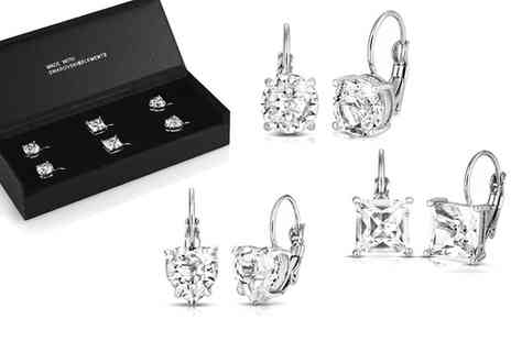 Groupon Goods Global GmbH - One or Two Packs of Three Drop Earrings with Crystals - Save 71%