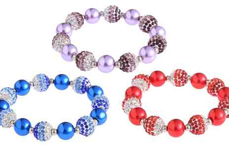 Groupon Goods Global GmbH - Pearl Fashion Crystal Disco Ball Friendship Bead Bracelet - Save 60%