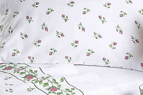 Diana Cowpe - Patterned single, double or king size white flannel sheet set - Save 66%