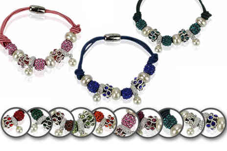 Pearl Info - Crystal bracelet with pearl inspired charms - Save 79%